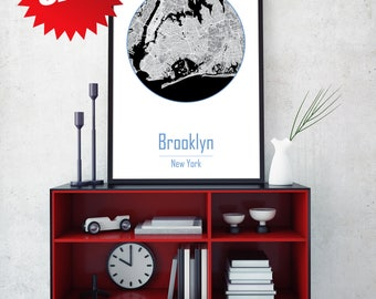 BROOKLYN CITY, Brooklyn map, canvas map, New York city map, Wall Decor, New York map, New York city art, Brooklyn poster, NYC art, Wall Art