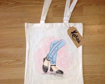 Shoes bag fabric, tote bag Koikima Store, illustration, woman bag, man bag, cotton bag, natural, gift, tote bag, original