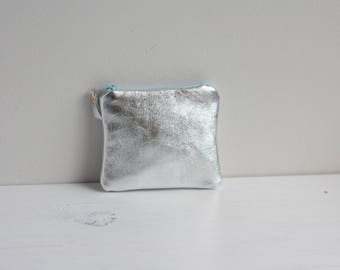 Silver leather coin purse -  Small soft leather purse - Metallic card holder - Birthday gift under 20 - Liberty bird print lining -Blue zip