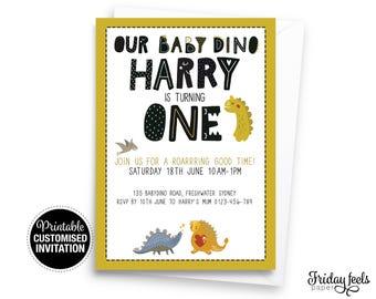 Dinosaur Birthday Invitation, baby boy birthday invitation 1st birthday invite customized digital printable