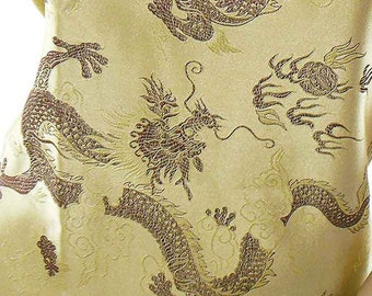Chinese brocade satin fabric material dragon on dull gold embroidered by the 0.5 YARDS, Yards Meters cbs 620