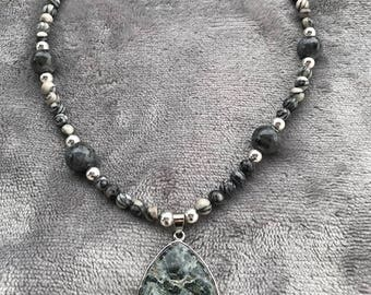 Necklace of Swarovski, Black Silkstone, and Sterling Silver Beads Featuring a large Jasper Teardrop