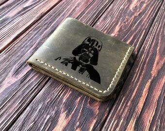 Star Wars Wallet, Personalized Mens Wallet Darth Vader Engraved Leather Wallet Mens Husband Gift, Star Wars Personalized Gift for Men k14