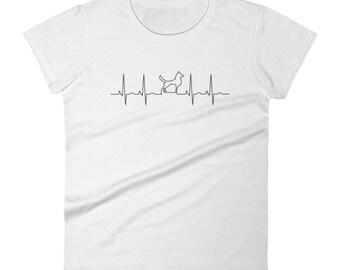 Dog Walking On EKG Women's short sleeve t-shirt