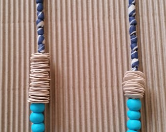 Fashion jewelry necklace - Blue beaded necklace - Modern necklace - Statement necklace - Accessories necklace - Polymer clay jewelry - Gift