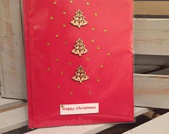 5x Christmas Cards: Three tree stack