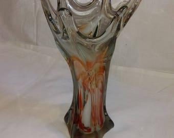 Vintage Glass Vase / 60's 70's Mid Century