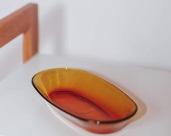 Vintage 1970's Oval Amber Glass Display Bowl