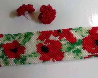 Poppy bracelet and matched earrings