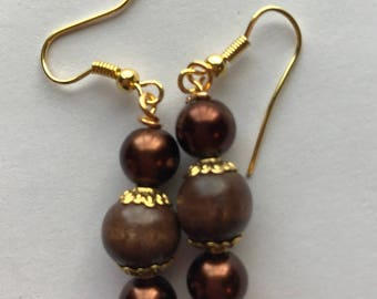 Brown and Gold Drop Earrings, Brown Gold Beaded Drop Earrings, Brown Gold Earrings, Brown beaded earrings, brown earrings, drop earrings