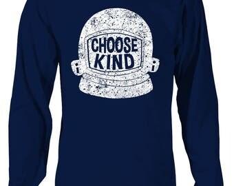 Choose Kind Long Sleeve T-Shirt - Helmet (distressed)