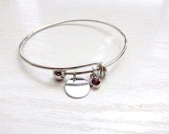 silver wirebracelet with birth charm,adjustable,initial & birth bracelet,adjustable bracelet with initial and charm, personalized gift