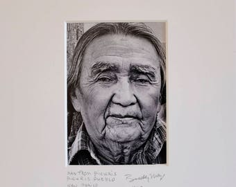 Fine Art Black and White Photograph of a Pueblo Indian Man AtPicuris Indian Pueblo in New Mexico//Native American Photography//Photos Gift