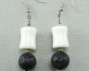 Natural Black Lava Stone Gemstone 12mm and White Coral. Lava stone oil Diffuser.  Handmade Dangle Earrings. Hooks are Nickel free Alloy
