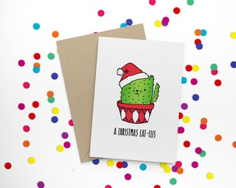 A Christmas Cat-cus - funny, cute, hand illustrated, cactus-cat character, non-traditional, Christmas card