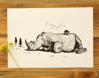 The Sleeping Rhino | Hand Drawn Fantasy Surreal Illustration | Rhinoceros Art Print | Wall Decor | Pen Ink Sketch