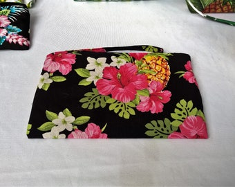 Tropical Hibiscus and pineapple print clutch, purse