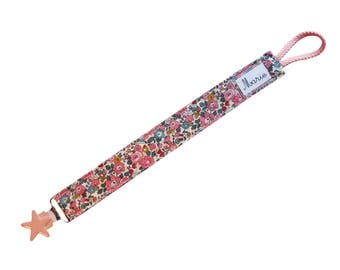 Pacifier clip in Liberty Betsy Ann Peony