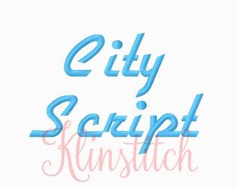 50% Sale!! City Script Embroidery Fonts 4 Sizes Fonts BX Fonts Embroidery Designs PES Fonts Alphabets - Instant Download