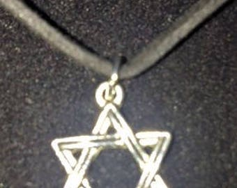 Black Faux Suede Star of David Charm Necklace