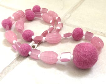Pink Felted Wool Beads Necklace and Earring Set