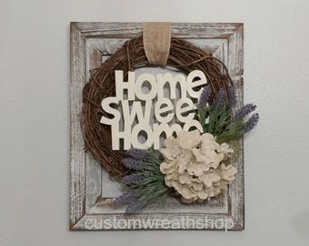 Grapevine wreath,Farmhouse Wreath,Rustic Wreath,Country Home Deco,Housewarming Gift,Wall Rustic Decor,Wall Sign,Shabby Chic Wreath,Spring