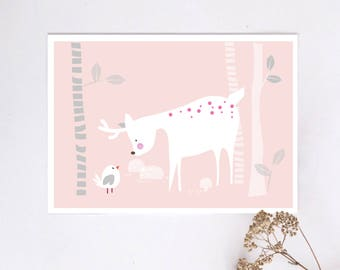 Prints for kids / posters for kids / nursery art / nursery wall art / nursery prints / nursery decor / kids room decor / pink deer and bird