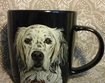Mug English Setter, hand painted mug, designer mug, coffee mug, Personalized mug, ceramic mug