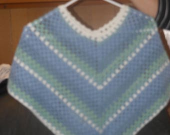 Hand knitted little girls poncho