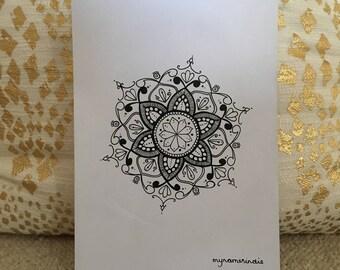 Hand-drawn black mandala on white card - 'The Katie Mandala'