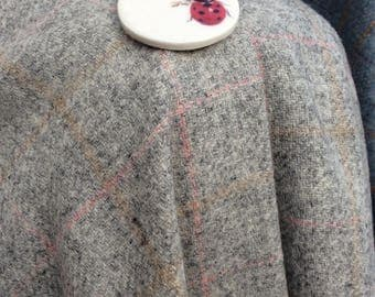 Tweed cape with beautiful handmade buttons