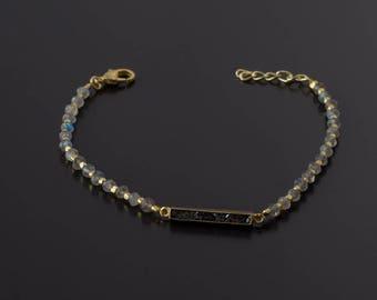 Raw Diamond Bracelet/Dainty Bracelet/Rough Diamond Bracelet/Labradorite Bracelet/Gemstone Bracelet/April Birthstone/Everyday Bracelet