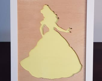 Belle - Framed Princess Silhouette | Wall Hanging | Beauty and the Beast | Disney | Room Decor | Display Art | Toddler's Present