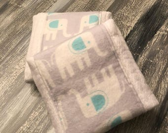 Elephant themed flannel burp cloths