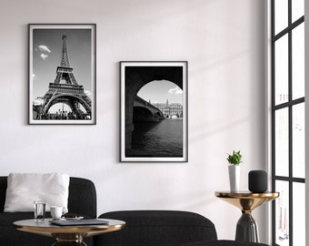 Paris Wall Art, Black and White Photography, Industrial Decor, Instant Download, Eiffel Tower, Digital Download, Printable Art