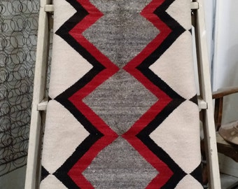 Vintage Hand-Woven Navajo Wool Rug - Cream/Black/Red/Grey, 1960's Hand-Woven Wool Rug, Native American Wool Rug, Southwestern Decor