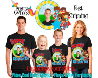 SUPERHERO with your Child's PICTURE Birthday Boy Theme Family BLACK Shirts For the Entire Family Mom Dad Brother and More T-shirt Superboy