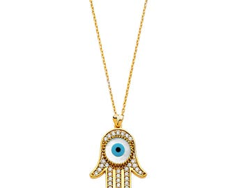14k Yellow Gold CZ Evil Eye Necklace - 18 inches