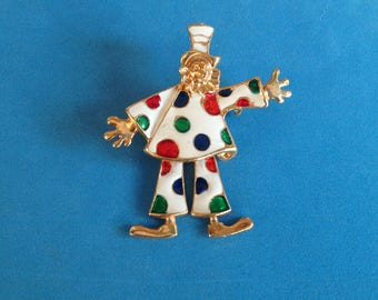 """Vintage! Dancing clown moving legs pin or pendant 2"""" x 1 3/4"""" - adorable."""
