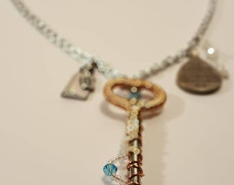 Key to Wonderland skeleton key charm necklace