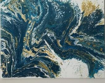 """Golden - 16""""x20""""- Fluid Acrylic Painting"""