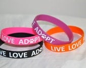 Live, Love, Adopt Wristbands; colorful rescue wristbands; rescue dogs; rescue animals; the adopt don't shop movement; rescue dog gift