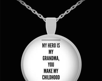 MY HERO is my GRANDMA! Amazing Silver Plated Necklace