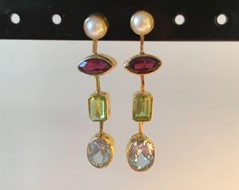 Stunning drop earring with semi precious stones
