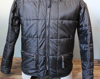 Vintage 100% Polyurethane Coat | Black | Racing Jacket | Size Small | Durable
