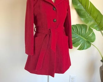 Vintage Red Belted Wool Swing Coat by Julie de Roma Medium