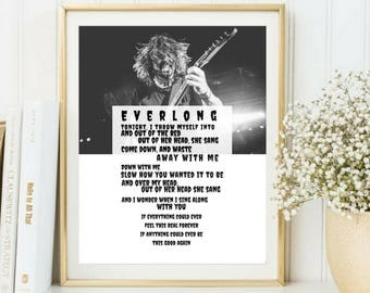 Foo Fighters poster, Dave Grohl print, Foo Fighters canvas, Everlong lyrics, Foo Fighters lyrics, Music lyrics print, Instant download