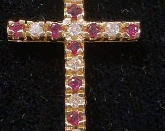 Gold Cross with Rubies and Diamonds