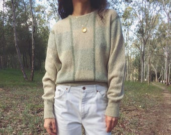 Vintage shades of pale green angora blend knit