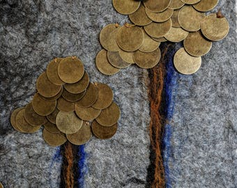 Beautiful original felt wall hanging.  Does money grow on trees???  Bronze stamping coins and felted wool.  13 x 10 inches